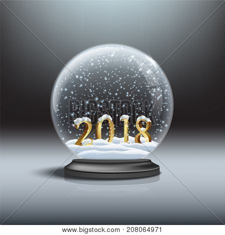Vector Christmas and New Year design element. Snow globe with shiny snow and 2018 golden sign.