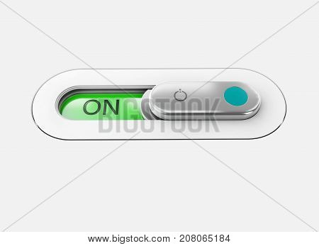 Realistic Toggle Switch. Gray Switche With Backlight, On Position. 3D Illustration