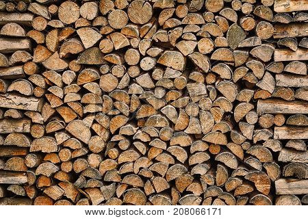 Natural Abstract Background of Stack of Wood