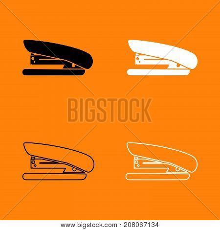 Stapler Black And White Set Icon.