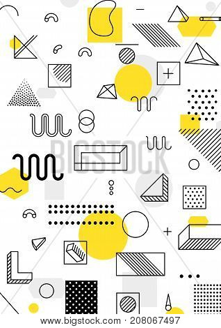 Universal trend poster with bright bold geometric yellow elements, chaotic composition, restrained sustained tempered style. Easy editable clipping mask. Magazine, leaflet, ad, typography, print