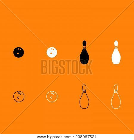 Pin And Bowling Ball Black And White Set Icon.