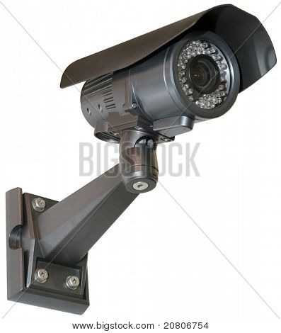 Black Security camera isolated with clipping path