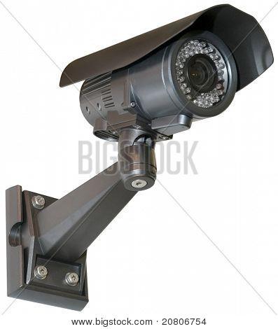 Schwarz-Überwachungskamera mit Beschneidungspfad isoliert