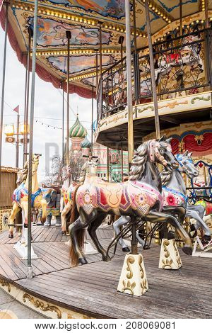 The Carousel At The Fair On Red Square.