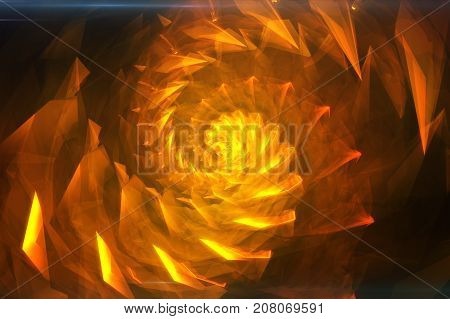 Orange Abstract Hypnotic Background. Twisting Spiral 3D Illustration