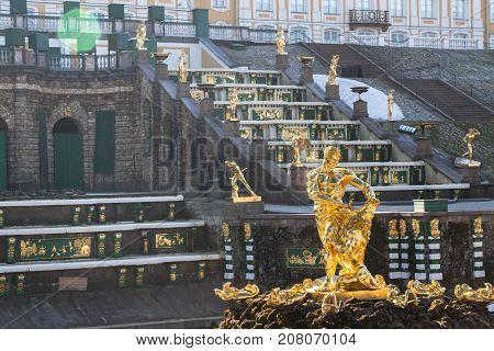 Samson Fountain In The City Park Of Peterhof.