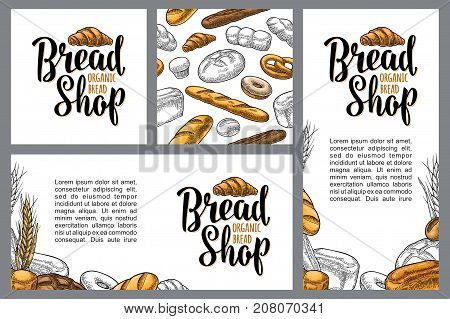 Set horizontal, vertical and square posters for bread organic shop with lettering. Seamless Pattern. Isolated on the white background. Vector color hand drawn vintage engraving for menu bakery shop.