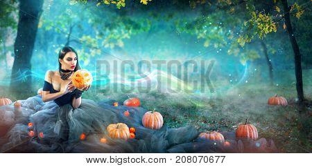 Halloween Witch with a carved Pumpkin and magic lights in a dark forest. Beautiful young surprised woman in witches costume holding pumpkin. Wide Halloween party wide angle art design