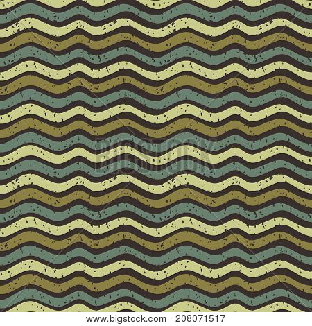 Seamless vector wavy pattern in brown and green natural colors for clothing design and backgrounds