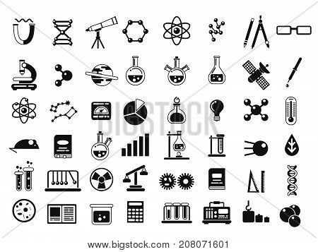 Monochrome set of different chemical symbols and others science icons in flat style. Chemical science laboratory elements. Vector illustration