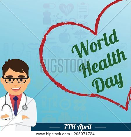 World Health Day, 7 April. Doctor with stethoscope conceptual illustration vector.