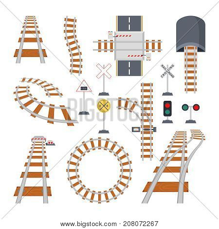 Different structural elements of railway. Vector collection in cartoon style. Road railway for train, railroad track illustration