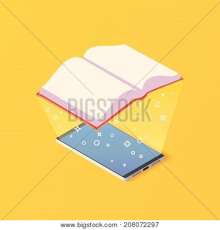 Isometric online mobile library concept. E-book vector illustration.