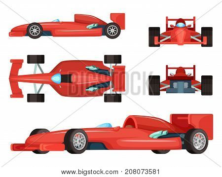 Different sides of sport cars. Vector illustration isolated. Car speed formula