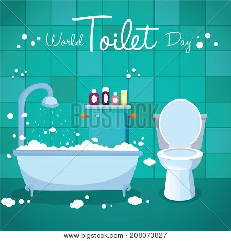 World Toilet Day, 19 November. Bathtub and toilet flush conceptual illustration vector.