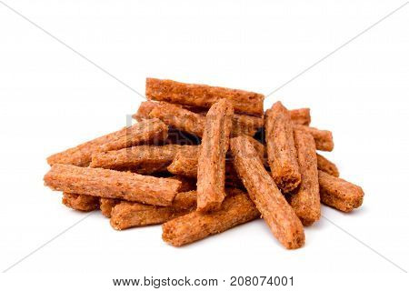Croutons Of Toasted Bread On White