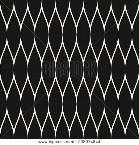 Mesh pattern. Vector seamless texture with thin wavy lines, fabric, fishnet, web net, lace, delicate grid. Subtle monochrome background, simple repeat texture. Dark design for textile, decor, covers. Mesh background. Lattice background.