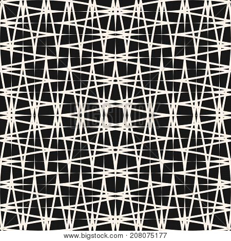 Cross hatch pattern. Abstract seamless texture with thin scratch lines, intersecting stripes. Simple repeat monochrome background. Horizontal and vertical hatching, strokes on black backdrop. Hatching pattern. Strokes pattern. Seamless pattern.