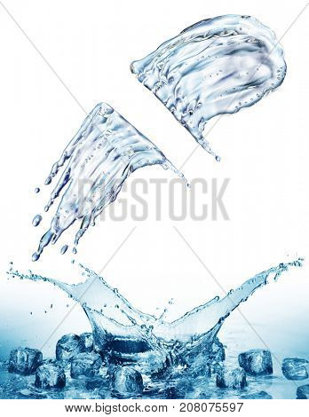 Water splash on blue bokeh background. 3d rendering