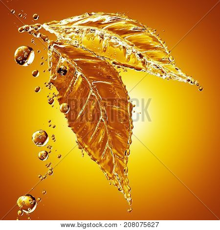 3D detailed illustration of a drop of water gold color. Yellow background