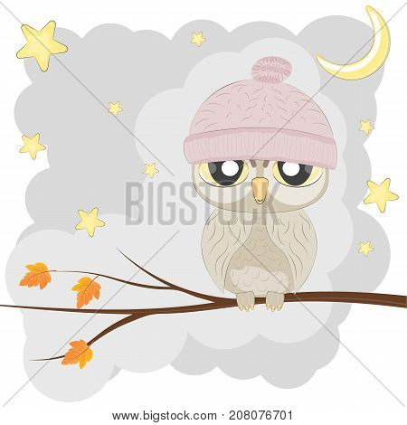 Owl sits in a tree with the stars and moon in the background. Greeting card