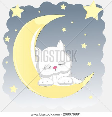 Happy cat who sleeps on the moon. Greeting card