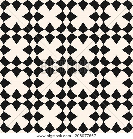 Vector ornamental texture. Abstract geometric seamless pattern with angular shapes, rhombuses, square grid. Simple geometrical ornament. Monochrome repeat background. Design for decor, ceramic, fabric. Ornamental background. Seamless background.