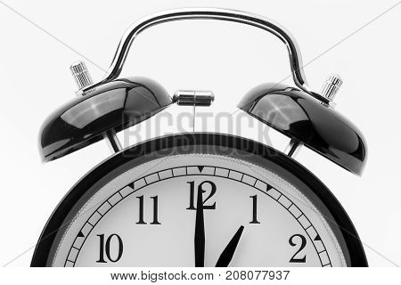 alarm clock, one o'clock, black and white
