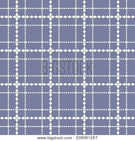 Vector square grid seamless pattern in trendy colors white and blue serenity. Abstract geometric texture with lattice, rhombus shapes, cross, lines. Simple background repeat tiles. Square pattern. Grid pattern. Mesh pattern. Lattice pattern.