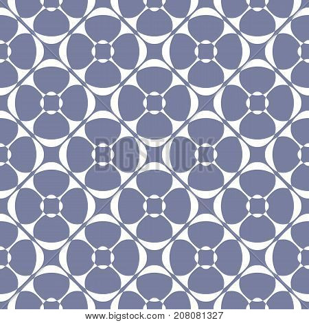 Vector geometric ornament pattern with rounded floral shapes, diagonal grid. Abstract seamless texture in pastel colors, blue serenity and white. Elegant ornamental background. Ornamental pattern. Geometric pattern. Design pattern. Oriental pattern.