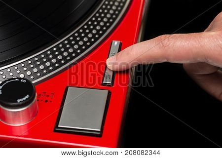 Pressing The Turntable Speed Button With Your Finger