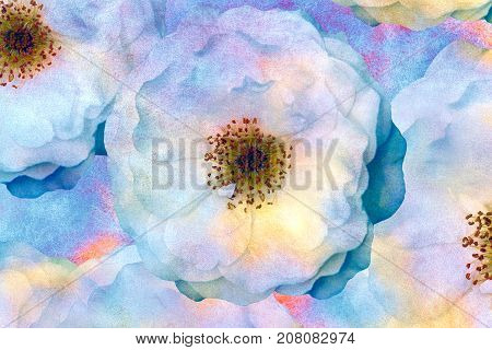 Vintage pastel stylization. Watercolor roses. Impressionist painting for cushion blanket or pillow plaid and tablecloth cloth bandanna or shawl. Batik Sari. Oil gouache painting stylization