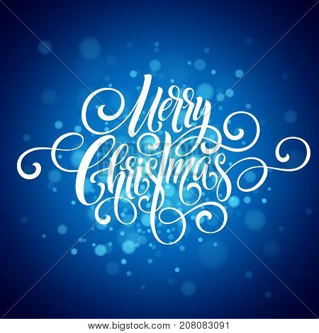 Merry Christmas handwriting script lettering. Christmas greeting background with snowflakes. Vector illustration EPS10