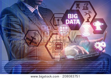Big data modern computing concept with businessman