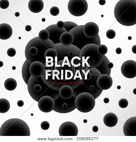 Black Friday Sale Abstract Banner With Molecular Orbs Background.