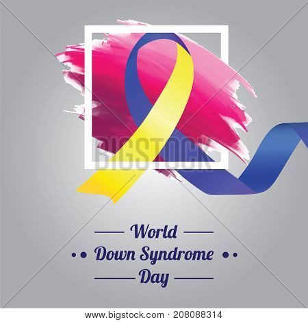 World Down Syndrome Day, 21 March. Ribbon symbol conceptual illustration vector.