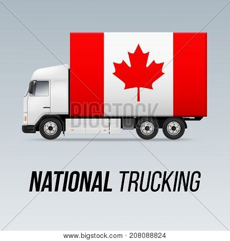 Symbol of National Delivery Truck with Flag of Canada. National Trucking Icon and Canadian flag