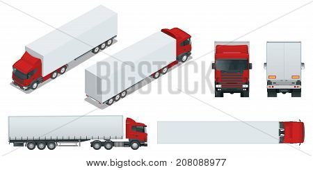 Truck trailer with container. Car for the carriage of goods. Cargo delivering vehicle template vector isolated on white View front, rear, side, top and isometry front, back
