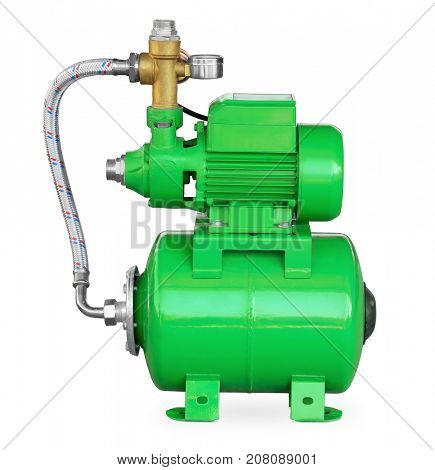 Green electric high pressure water pump isolated on white