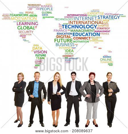 Business world team with internet international technology concept tag cloud
