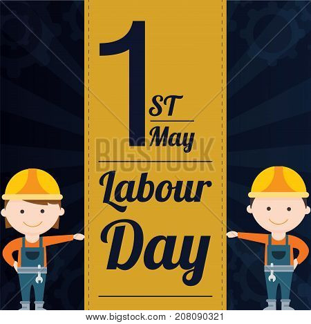 Labour Day, 1 May. Woman and man at work conceptual illustration vector.