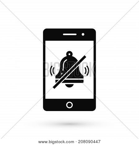 Turn off phone ringer icon. No bell on smartphone monitor. Soundless mode. Vector isolated illustration.