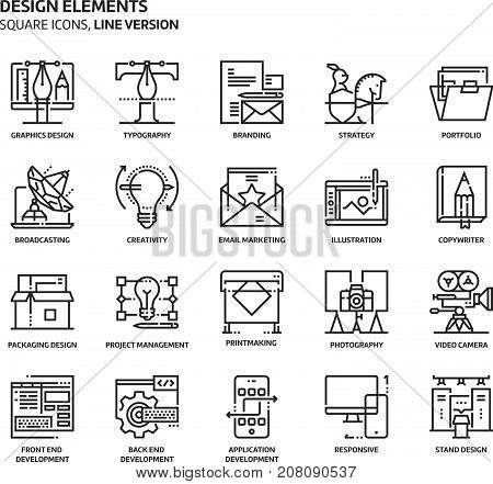 Design Elements, Square Icon Set
