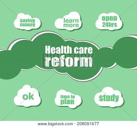 Health Care Reform Words. Health Concept . Word Lettering Typography With Line Icons And Tag Cloud O