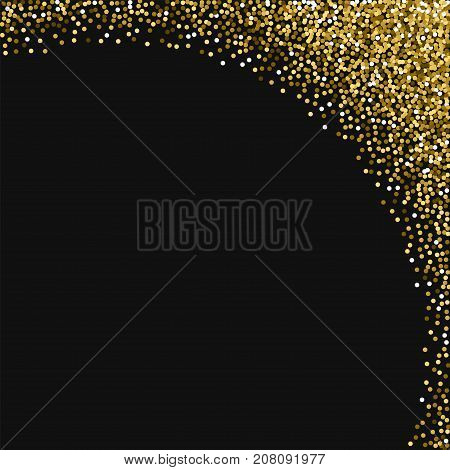 Round Gold Glitter. Abstract Right Top Corner With Round Gold Glitter On Black Background. Graceful