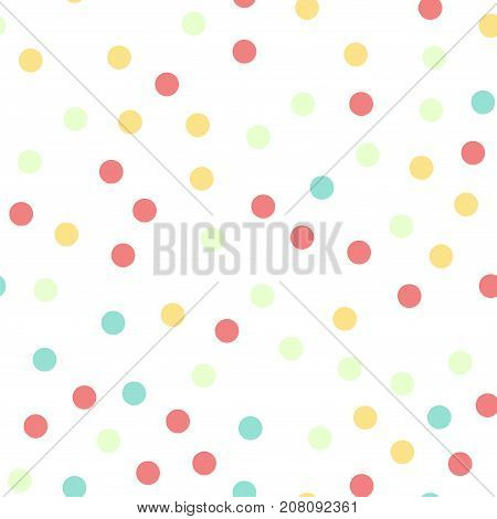 Colorful Polka Dots Seamless Pattern On Black 16 Background. Brilliant Classic Colorful Polka Dots T