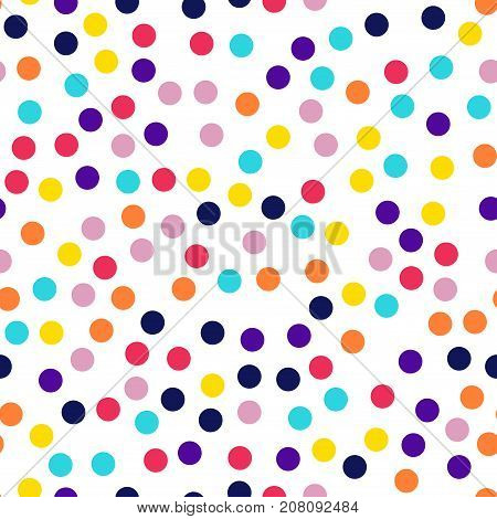 Memphis Style Polka Dots Seamless Pattern On White Background. Amazing Modern Memphis Polka Dots Cre