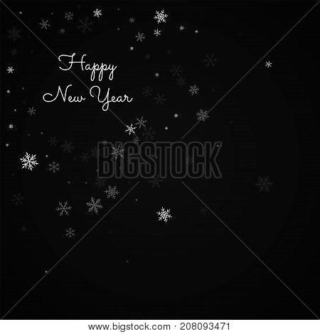 Happy New Year Greeting Card. Sparse Snowfall Background. Sparse Snowfall On Black Background. Beaut