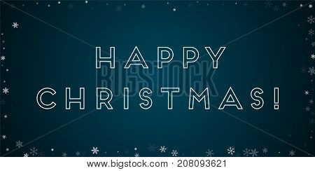 Happy Christmas Greeting Card. Sparse Snowfall Background. Sparse Snowfall On Blue Background. Marve